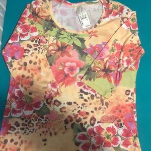 NWT Christopher banks 3/4 sleeve floral xl tee